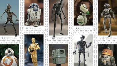 スターウォーズのドロイドを集めた切手シート